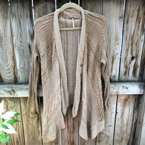 Free people cardigan buttons drape light brown S